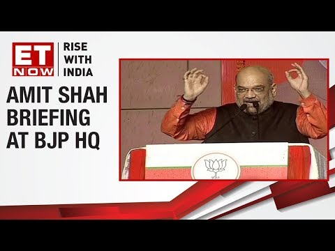 BJP Chief Amit Shah takes a dig at Mahagathbandhan during his address at BJP HQ