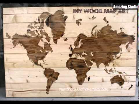 Wooden World Map Wall Art diy wooden world map wall art - youtube