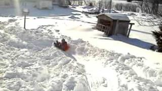 The kids on our homemade sled path