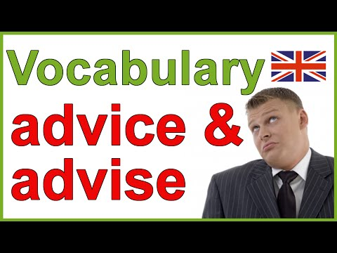 Advice vs advise - Confusing English words | Vocabulary