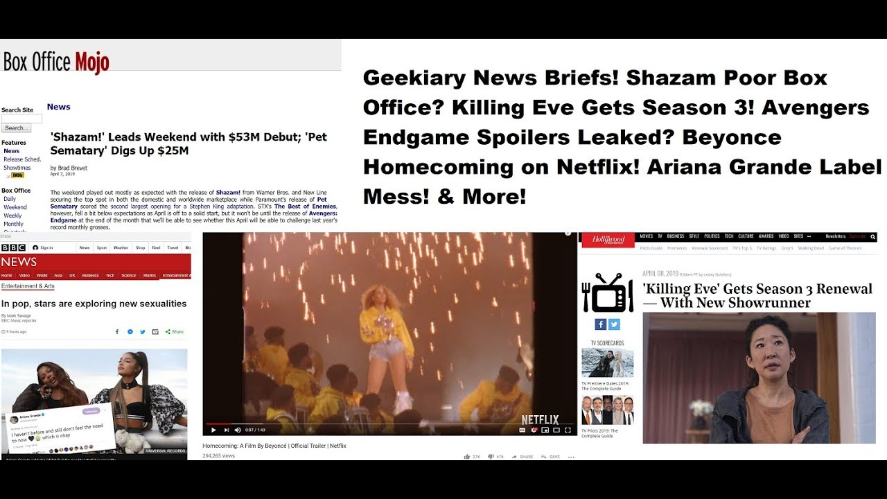 Shazam Low Box Office? Beyonce Homecoming! Endgame Spoilers? Ariana Grande  Sexuality Mess!