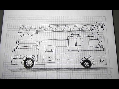 Aprende a dibujar vehículos paso a paso 5/6 - Carro bombero ...