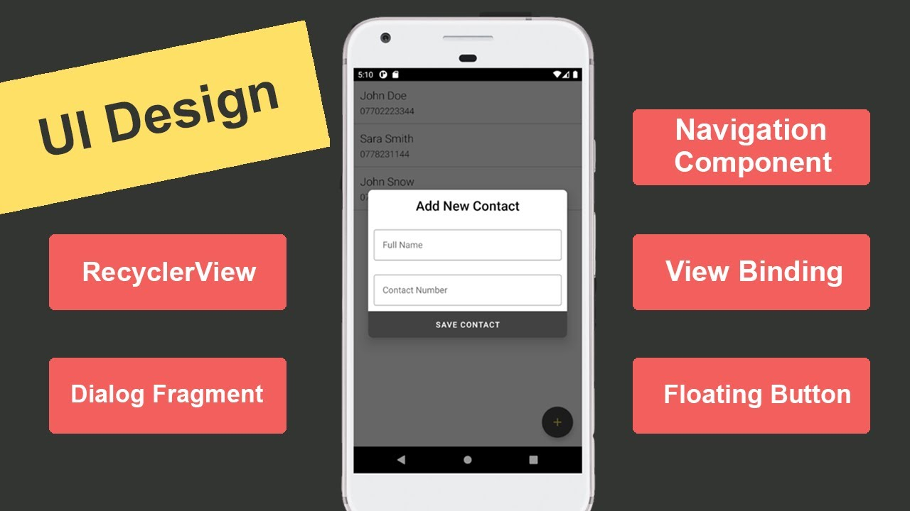 Modern Contact List App UI Design - Firebase Realtime Database Tutorial in Android Studio #2