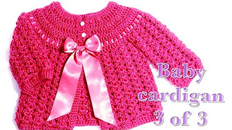 ee6a01246 crochet baby cardigan 0-3 months - YouTube