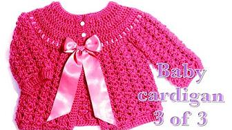 33174674d crochet baby cardigan 0-3 months - YouTube