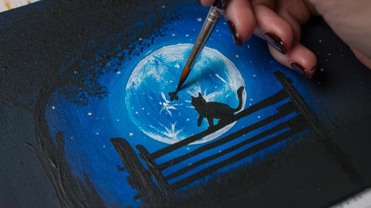 Acrylic painting - Midnight Cat , Night and Easy drawing - YouTube