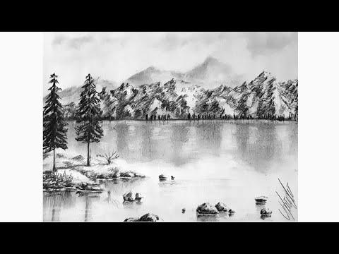🏞 Basit, Karakalem Manzara Çizimi! (Dağ ve Göl) #Dağ #Çizimi #Manzara #Mountain #Drawing #Peysaj