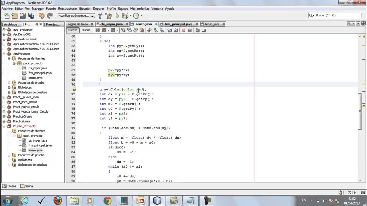 Tutorial NetBeans 68 Algoritmo DDA para dibujar Linea y Circulo