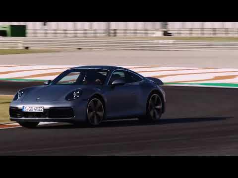 Porsche 911 Carrera S in Silver Metallic on the Race Track