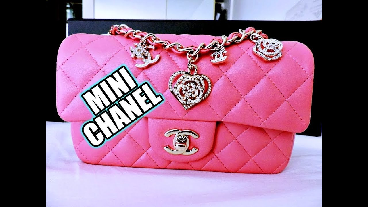 d21b29ba66a4 UNBOXING CHANEL Mini Small Valentine's LIMITED EDITION Charms Flap Bag Pink  14P