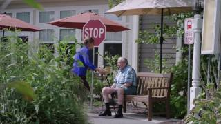 The bridges by epoch at hingham in massachusetts built a 'bus stop to nowhere' courtyard of their memory care community. idea serves as an example...