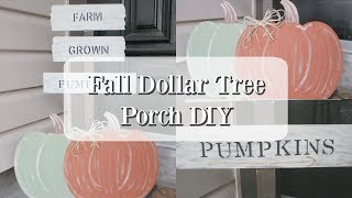 FALL DOLLAR TREE PORCH DIY | FARMHOUSE FALL DECOR DIY