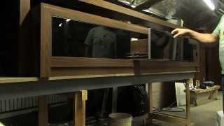 Home - gavetas com corrediça de toque - frente de vidro preto pintado - perfil zero