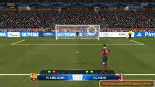 Penalty shootout Barcelona vs AC Milan - PC Gameplay PES 2014 !