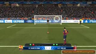 Penalty shootout Barcelona vs AC Milan - PC Gameplay PES 2014 !