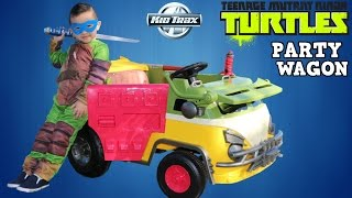 Kid Trax Ninja Turtles Party Wagon Battery Powered 6 Volt Ride-On Car Unboxing With Ckn Toys