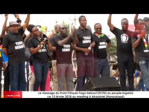 Le message du Front Citoyen Togo Debout à la classe politique au peuple togolais