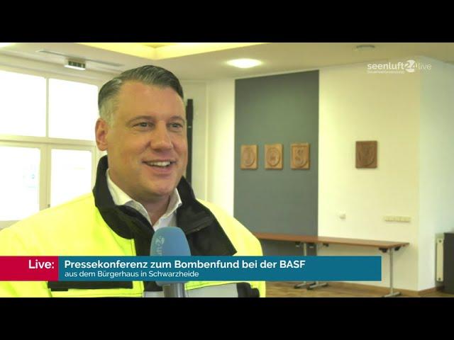 PRESSEKONFERENZ zum Bombenfund bei der BASF in Schwarzheide