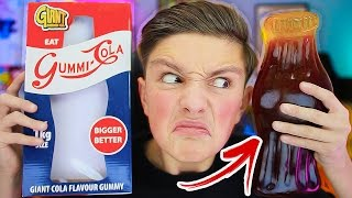EATING THE WORLD'S LARGEST GUMMY COLA BOTTLE! 😱 (IMPOSSIBLE CHALLENGE)