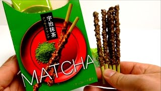 POCKY GREEN TEA Matcha Chocolate CRUNCH Sticks Japanese Candy by Glico Japan