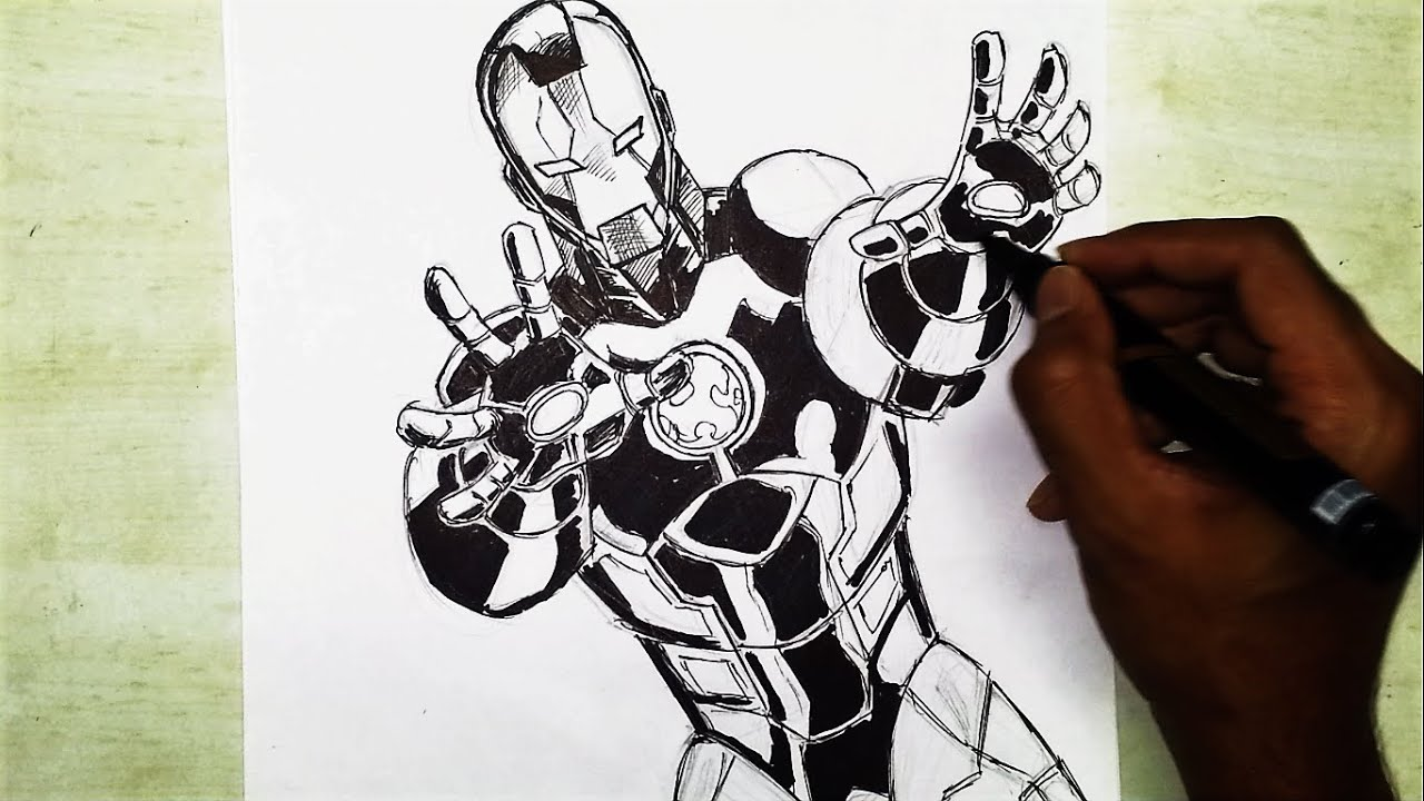 Marvel Superhero Iron Man Comic Speed Drawing And Inking Time Lapse