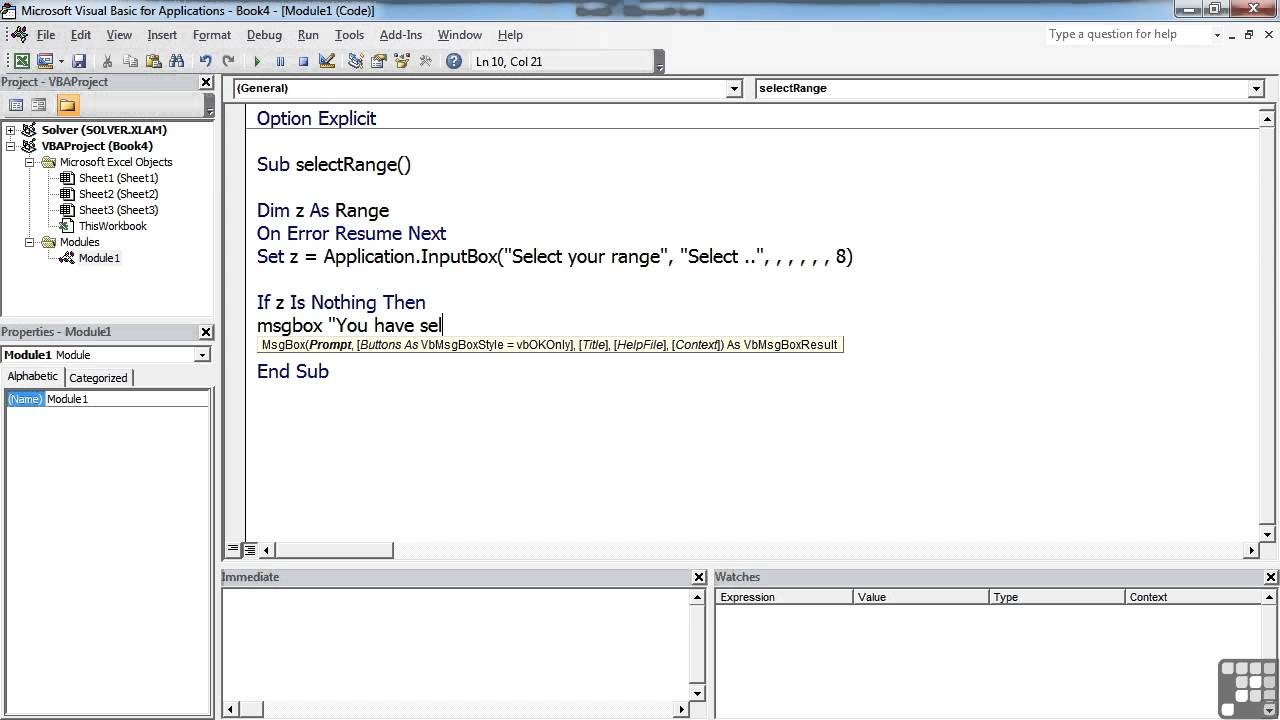 Resume On Error Resume Next Vb6 visual basic resume next tutorial on how to load images in 1003 selecting a range with the input box youtube