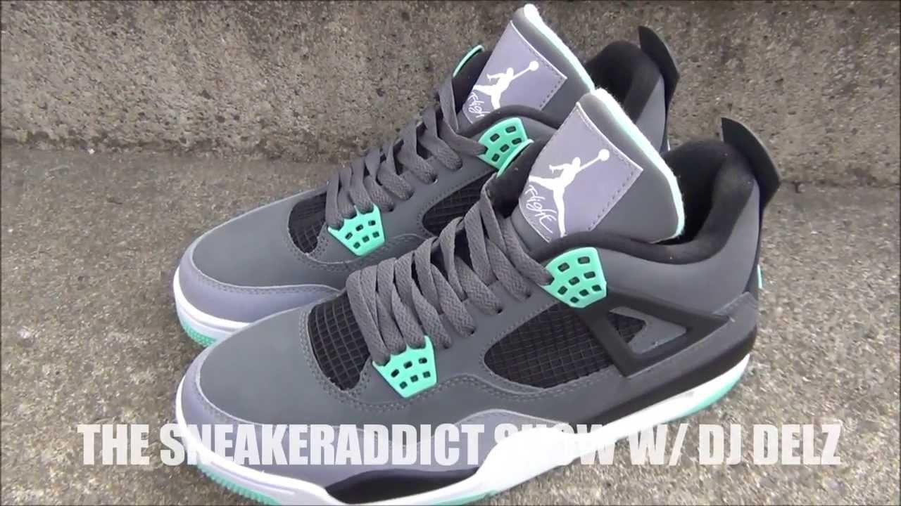 timeless design 0c354 44887 Air Jordan Green Glow 4 IV Shoe Review + On Feet W   DjDelz Dj Delz The  Sneaker Addict - YouTube