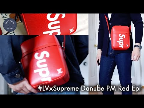 eaa1e917a052 What fits  Trying on the Louis Vuitton x Supreme Danube PM in Red ...