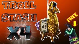 FORTNITE PvE : 4 TROLL STASH LLAMAS & Daily FREE Neon Storm Llama