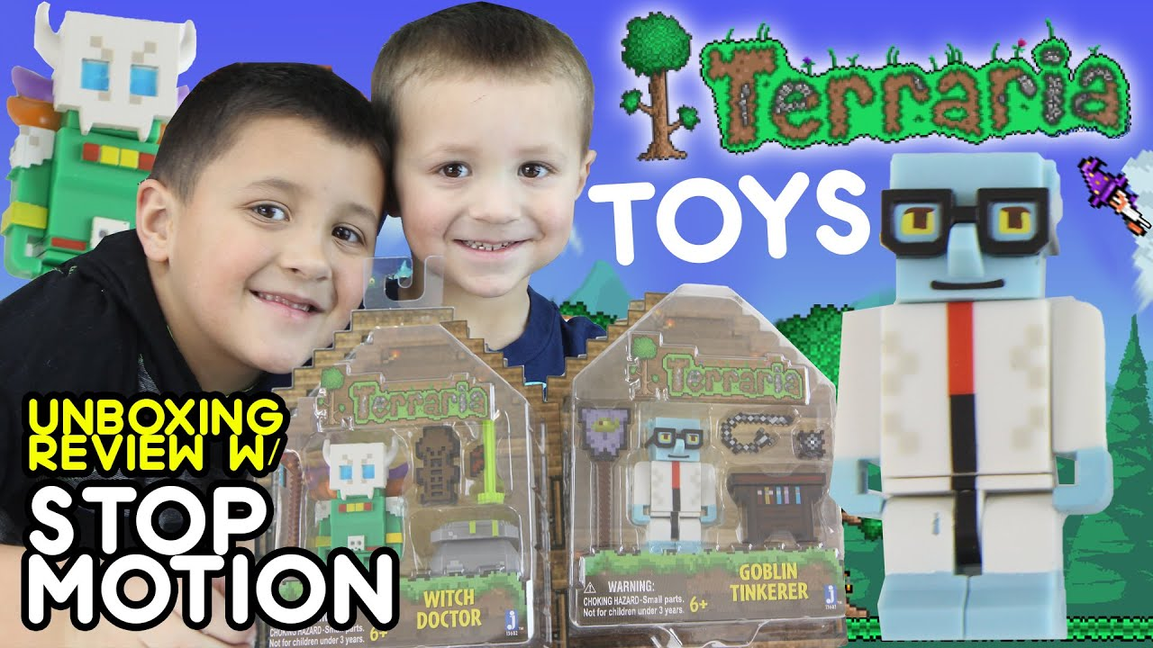 Terraria Toys Unboxing Review + Stop Motion Skit by Mike 'n Chase (Goblin Tinkerer & Witch