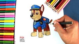 Cómo dibujar a CHASE de La Patrulla Canina | How to draw Paw Patrol Chase