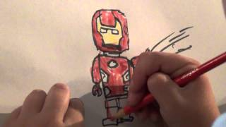 Easy How to Draw Lego Iron Man and Incredible Hulk by Avery