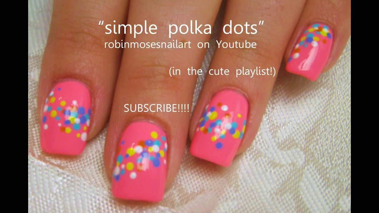 Easy Nail Art Polka Dot Nails Short Nail Design Tutorial Youtube