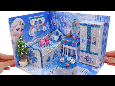 DIY Miniature Dollhouse for Barbie ~ How to Make Elsa Bed Room