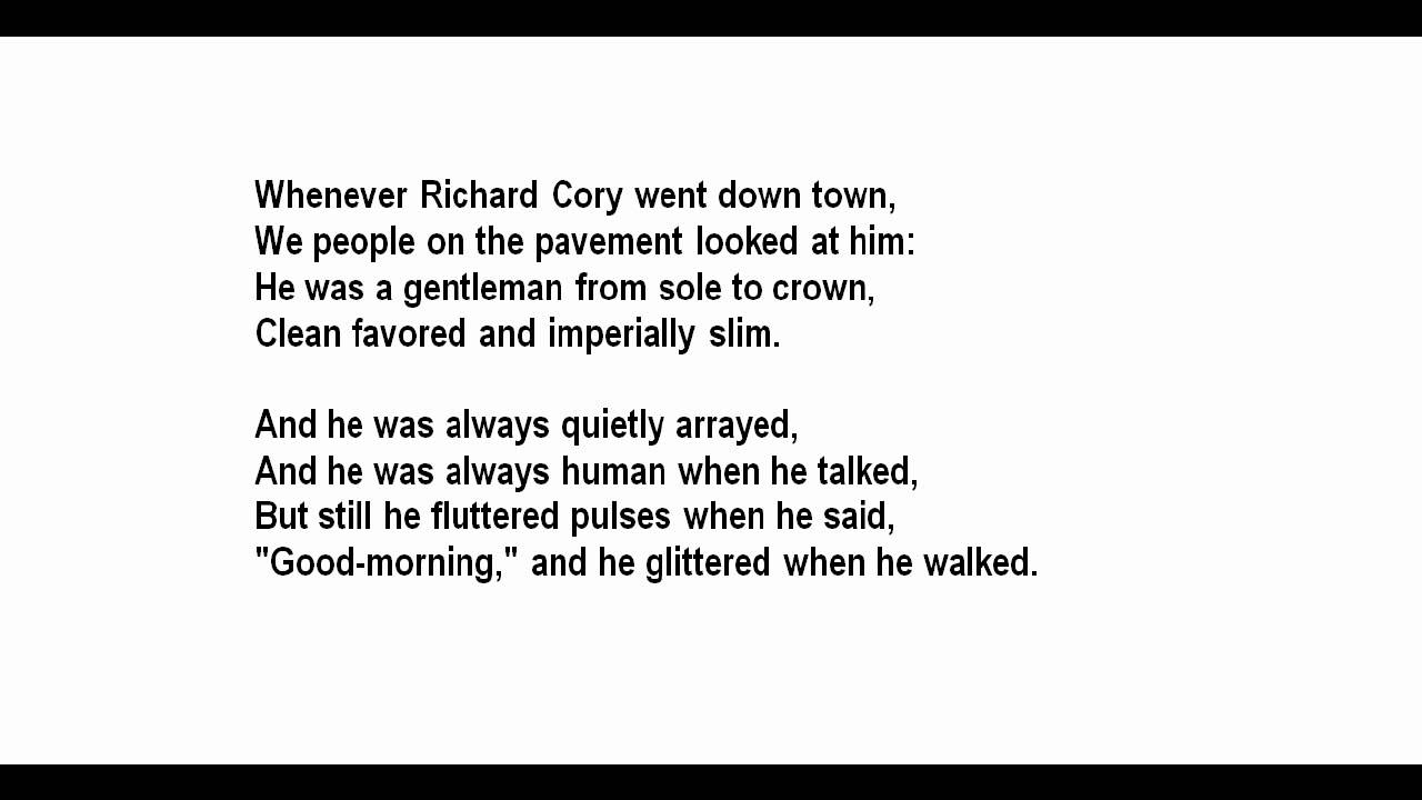 richard cory poem analysis essay Richard cory - analysis essays: over 180,000 richard cory - analysis essays, richard cory - analysis term papers, richard cory - analysis.