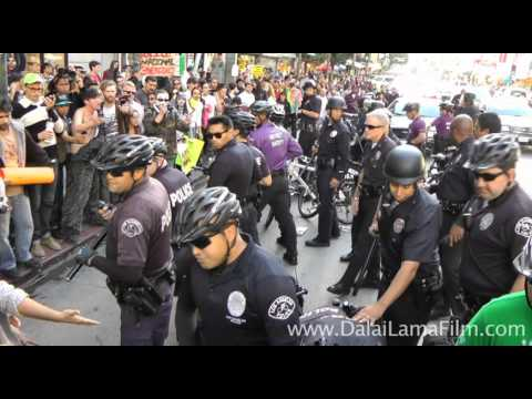 Occupy LA (Wall Street) - LAPD police scuffle with marchers and arrest protester - 12-03-2011