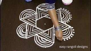 easy beginners padi kolam designs with 7 dots * simple rangoli * dhanurmasam /geethala  muggulu