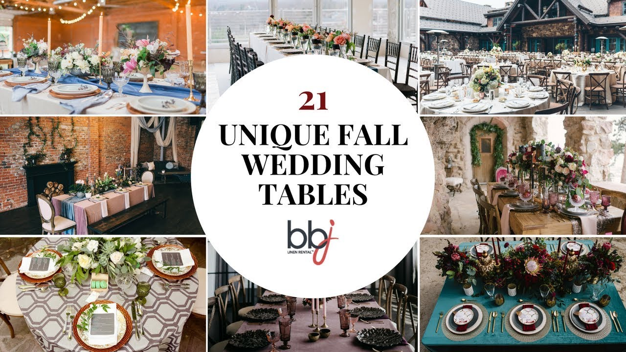 21 Unique Fall Wedding Event Table Linen Designs - YouTube