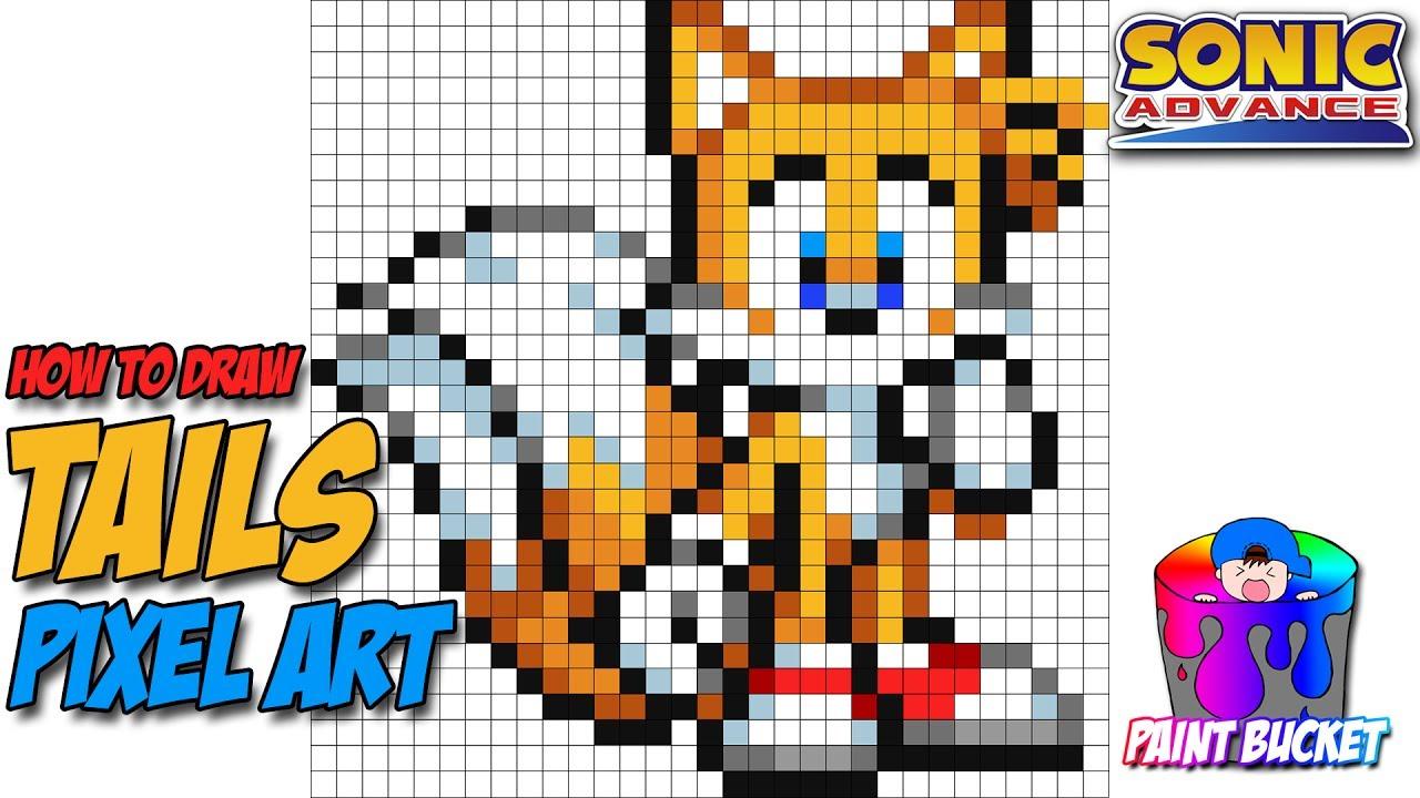 How To Draw Sonic The Hedgehog 16 Bit Drawing Sega S Sonic Pocket Adventure Pixel Art Tutorial Youtube