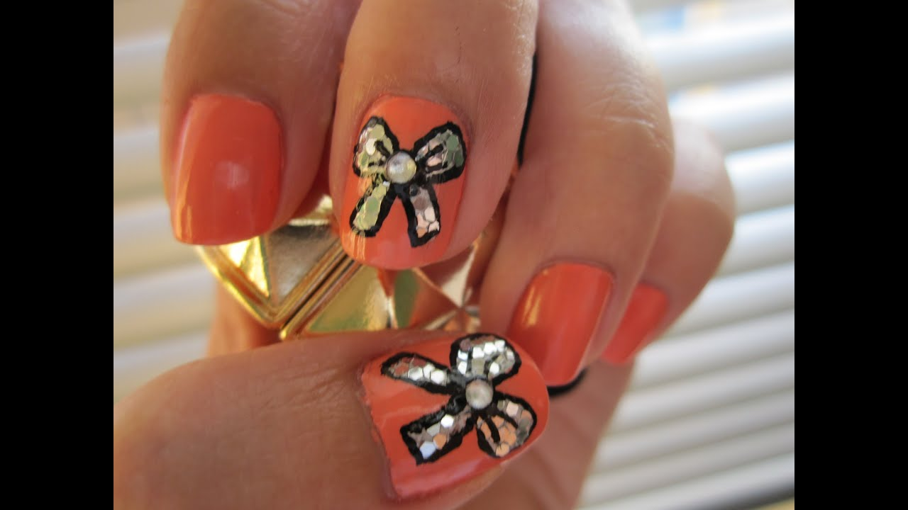 Blinged out Bows - Nail Art - YouTube