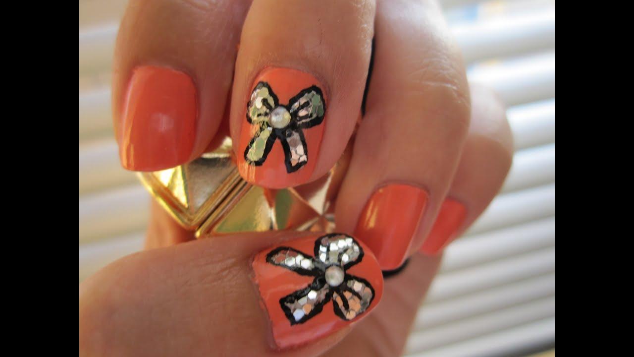 blinged bows - nail art
