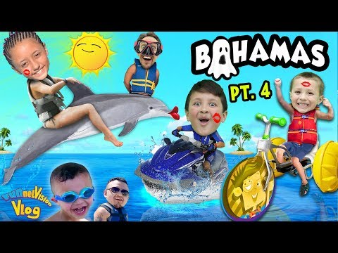 We KISS DOLPHINS, RIDE A JET SKI & WATER BIKE @ Atlantis Resort FUNnel Family Bahamas Trip Part