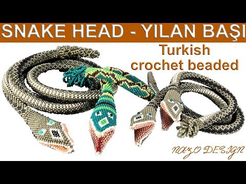 Hapishane Işi Yılan Başı Nasıl örülür (How To Knit Crochet Beaded Snake Head)