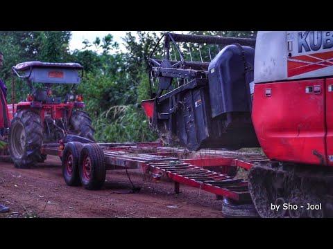 รถเกี่ยว รถเกี่ยวข้าว harvester # รถเกี่ยว คูโบต้า ขึ้นรถเทรลเลอร์ หนีฝน ขนกลับ