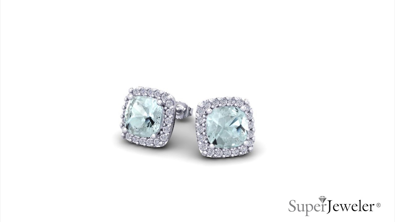 rose gold in marine stud trinity aquamarine aqua earrings ctw