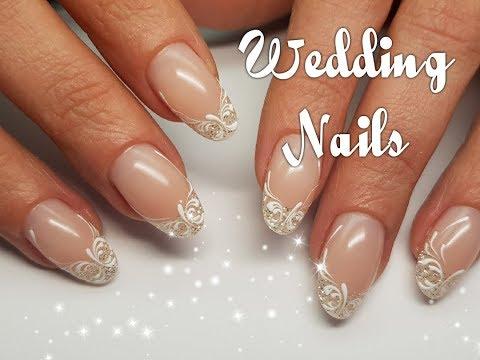 Нарощенные ногти свадебный маникюр