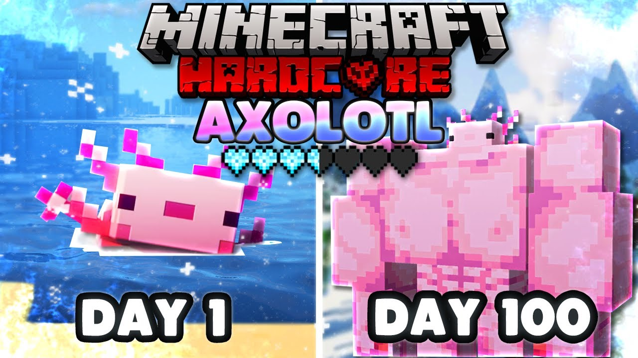 I Survived 100 days as An AXOLOTL in the ICE AGE in 1.17 Hardcore Minecraft...