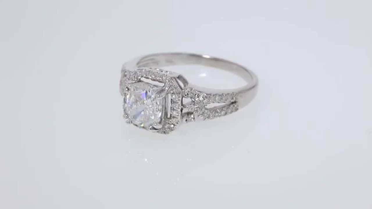 1.36CT Cushion Diamond Pave Engagement Ring EGL Certified ...