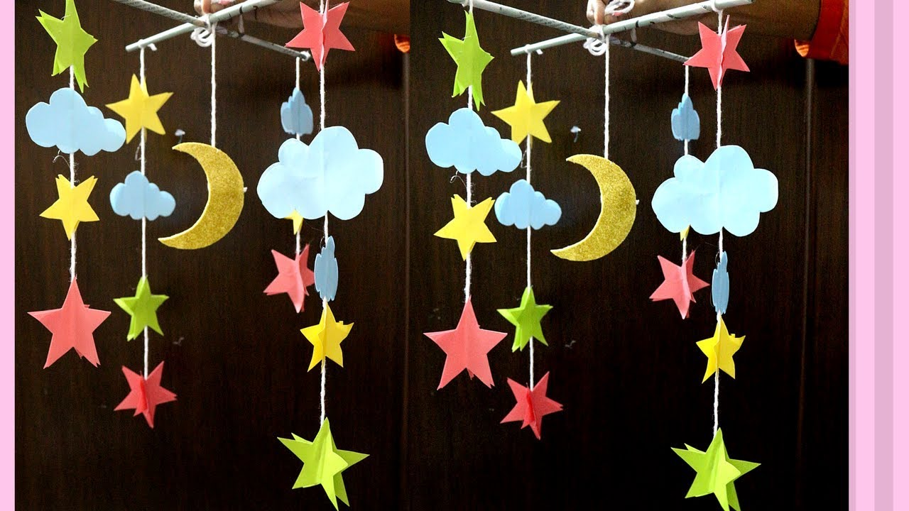 Paper Made Wall Hanging Moon Star For Kids   How To Make Moon U0026 Stars Out  Of Paper