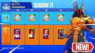 "Fortnite Season 7 ""MAX BATTLE PASS"" Unlocked! (New Skins) Upgraded Ice King, Zenith, and Lynx Skins!"